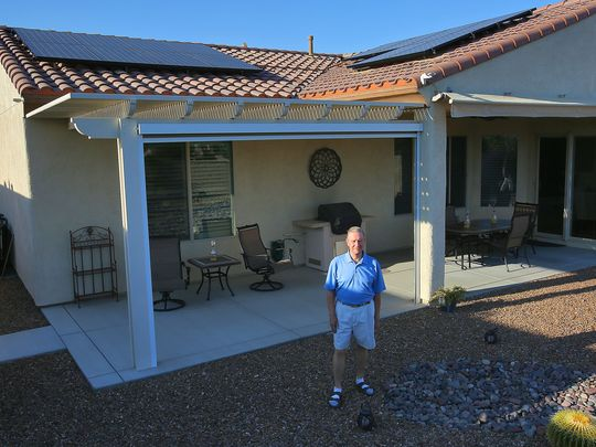 Indio resident Paul Nelson has been unable to use his newly installed solar panels, seen on May 9, 2016, due to decisions made by the Imperial Irrigation District.