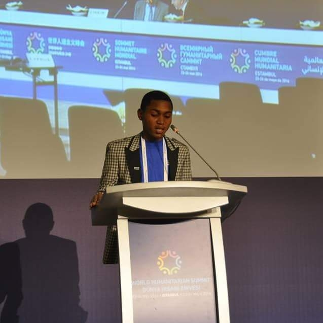 Wantoe Teah Wantoe speaking at the first-ever World Humanitarian Summit held in Turkey in 2016.