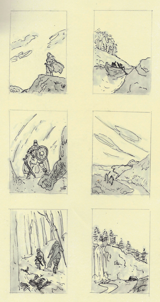 "Thumbnail sketches for ""Eirik's Fall""."