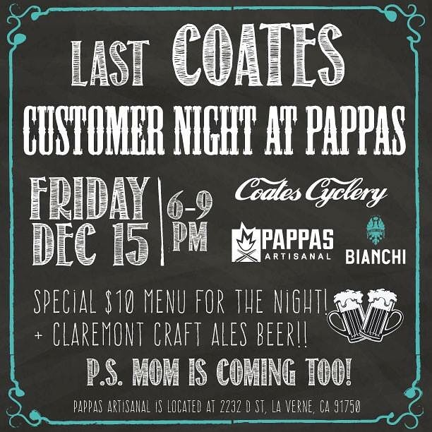 Come one, come all! We've got a fun gathering of former Coates Cyclists coming out to Pappas later tonight to celebrate good company and the holiday season 🎄🚴♀️🍕!! Come and meet new friends and hang with old ones!#coatescyclery #pappasartisanal