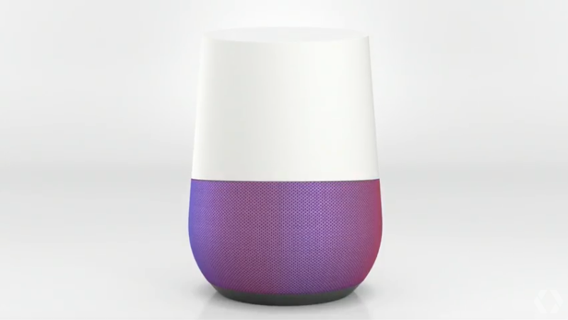 My Google Home is wearing it's standard gray base, however the bases are interchangeable, as shown above.