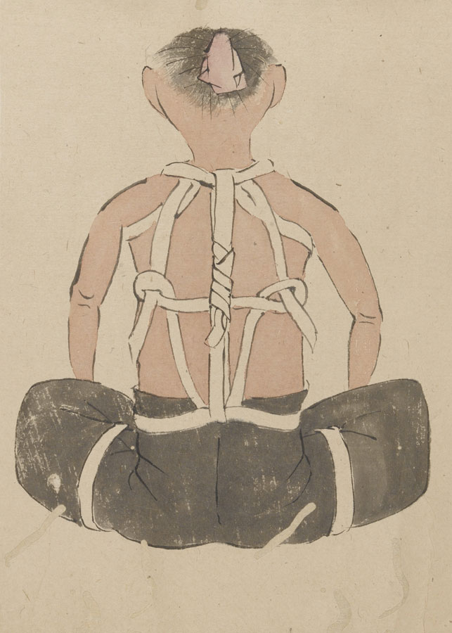 Japanese Scroll, bandages and bandaging techniques. An emakimonos, or horizontal scroll, showing different bandages and bandaging techniques. Watercolour, 19th C. Wellcome Image Collection London.