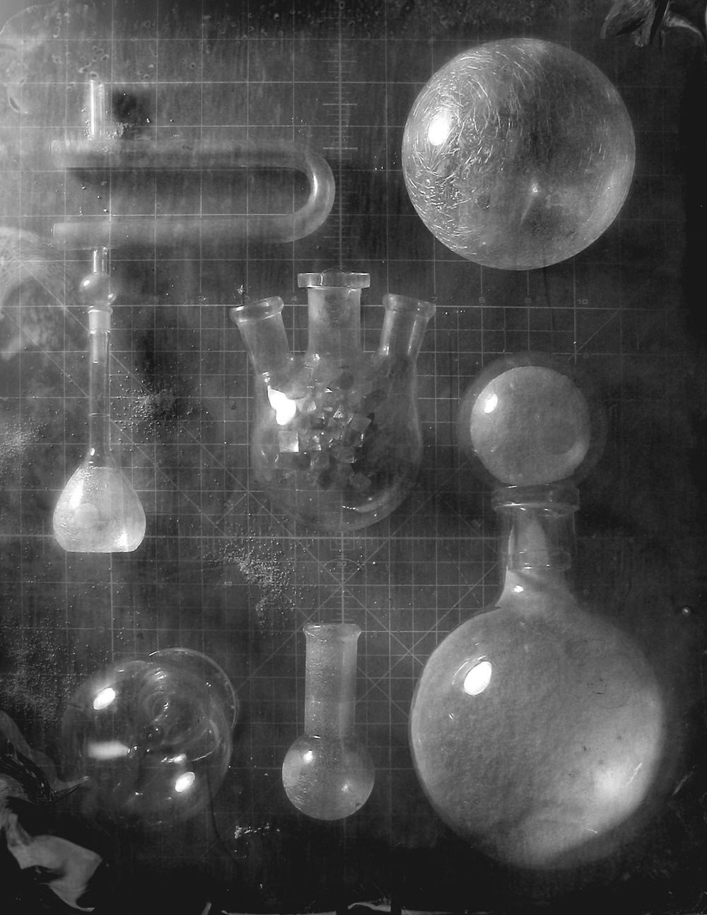 An array of glass chemistry vessels, image source unknown.