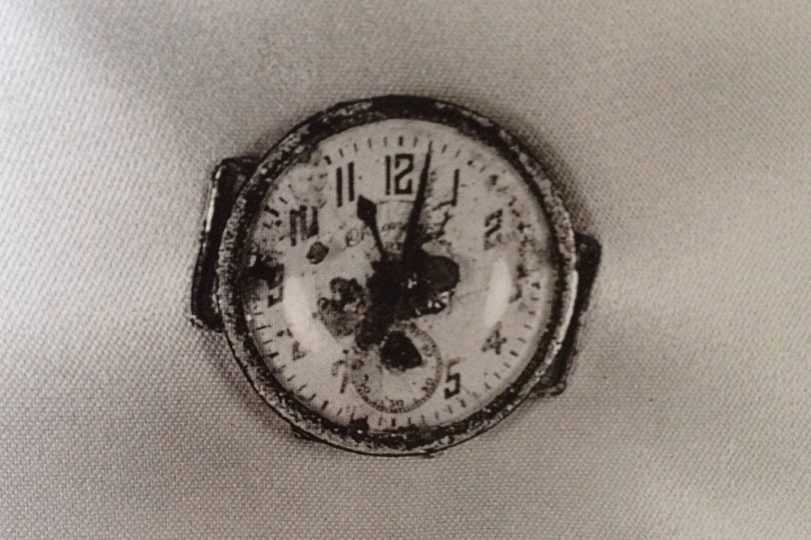 Shomei Tomatsu,  11:02 Nagasaki  (detail), 1961.    The photograph from which the series takes its name is a watch that was dug up 0.7km from the epicenter of the explosion and which stopped at 11:02 a.m on the 9th of August 1945. Tokyo Metropolitain Museum of Photography.