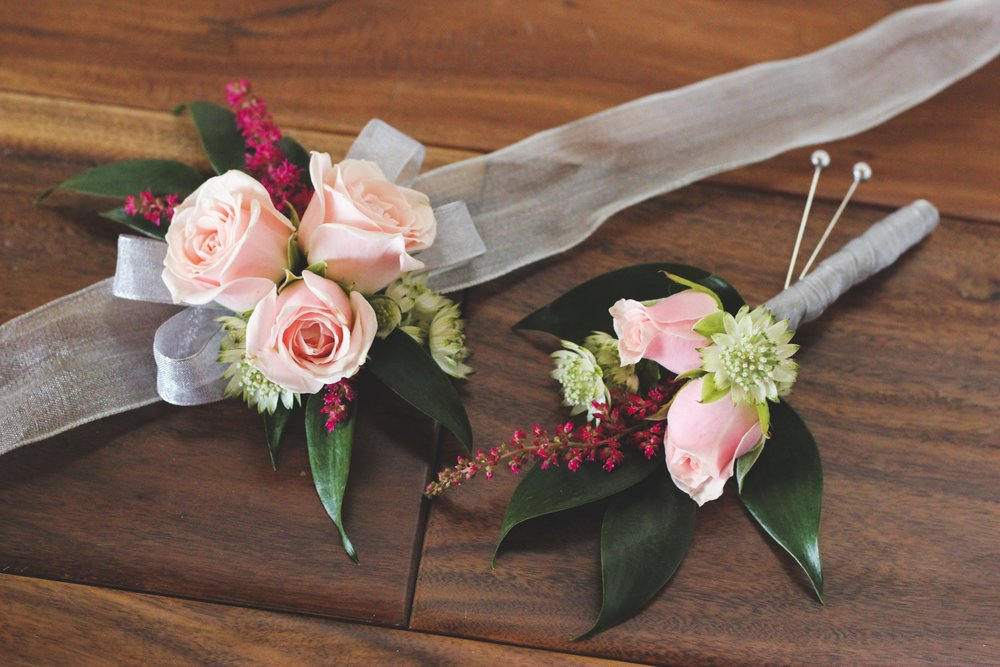 Pink spray rose with astilbe and white astrantia silver wrist corsage and boutonniere - Roots & Wildflowers