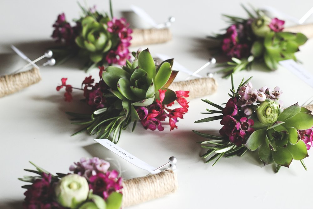 Succulent boutonniere with purple and pink wax flower and rosemary wrapped in twine - Roots & Wildflowers