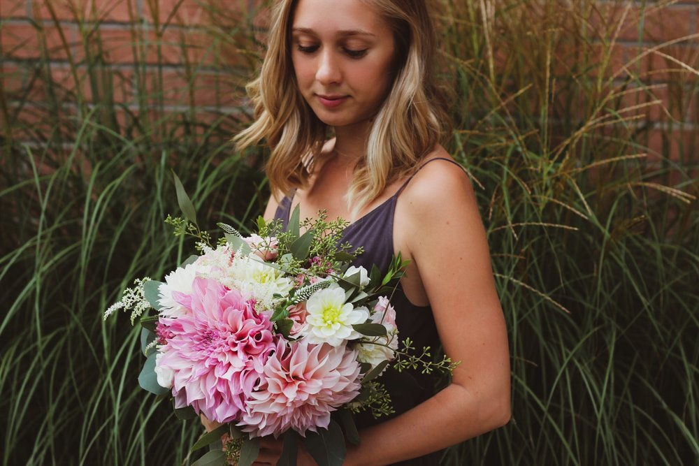 Pink cafe au lait dahlia bridal bouquet with dreamy white detail and loose seeded eucalyptus for a September backyard wedding in Courtice Ontario Canada - Roots & Wildflowers