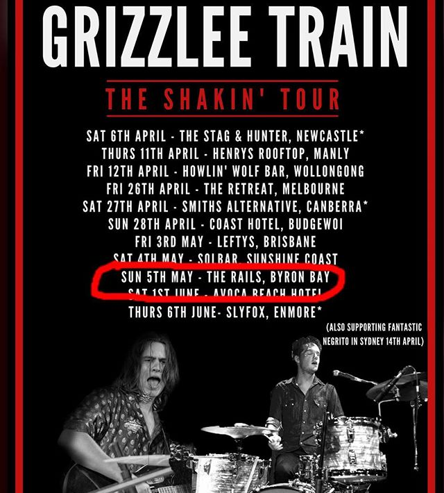 JUST ADDED - Stoked to be returning to Byron Bay for a stop on the Shakin' tour! Catch ya at The Rails! #byron #shakin #tour