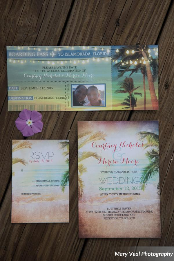These fun boarding pass save the dates followed by their destination wedding invite let guests know how fun and laid back the wedding would be. It was a such a beautiful night!