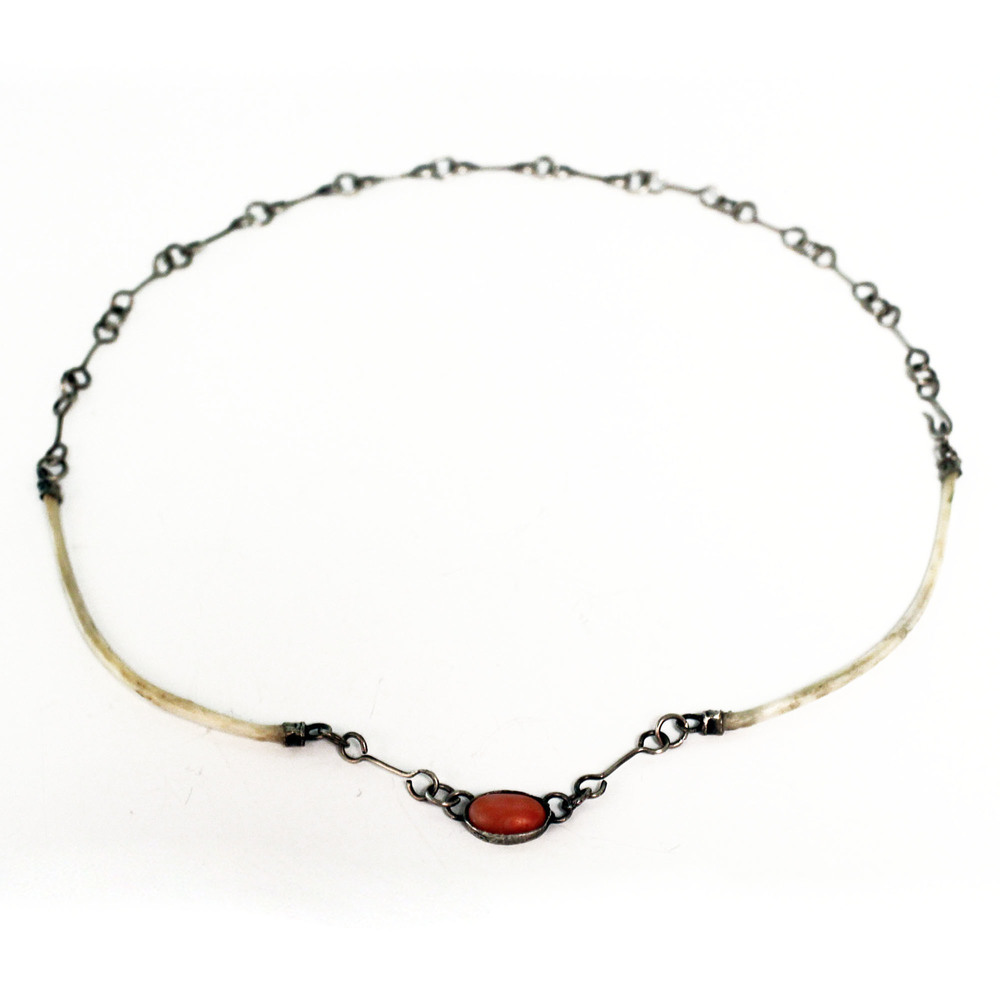 handmade sterling silver chain with bone and coral