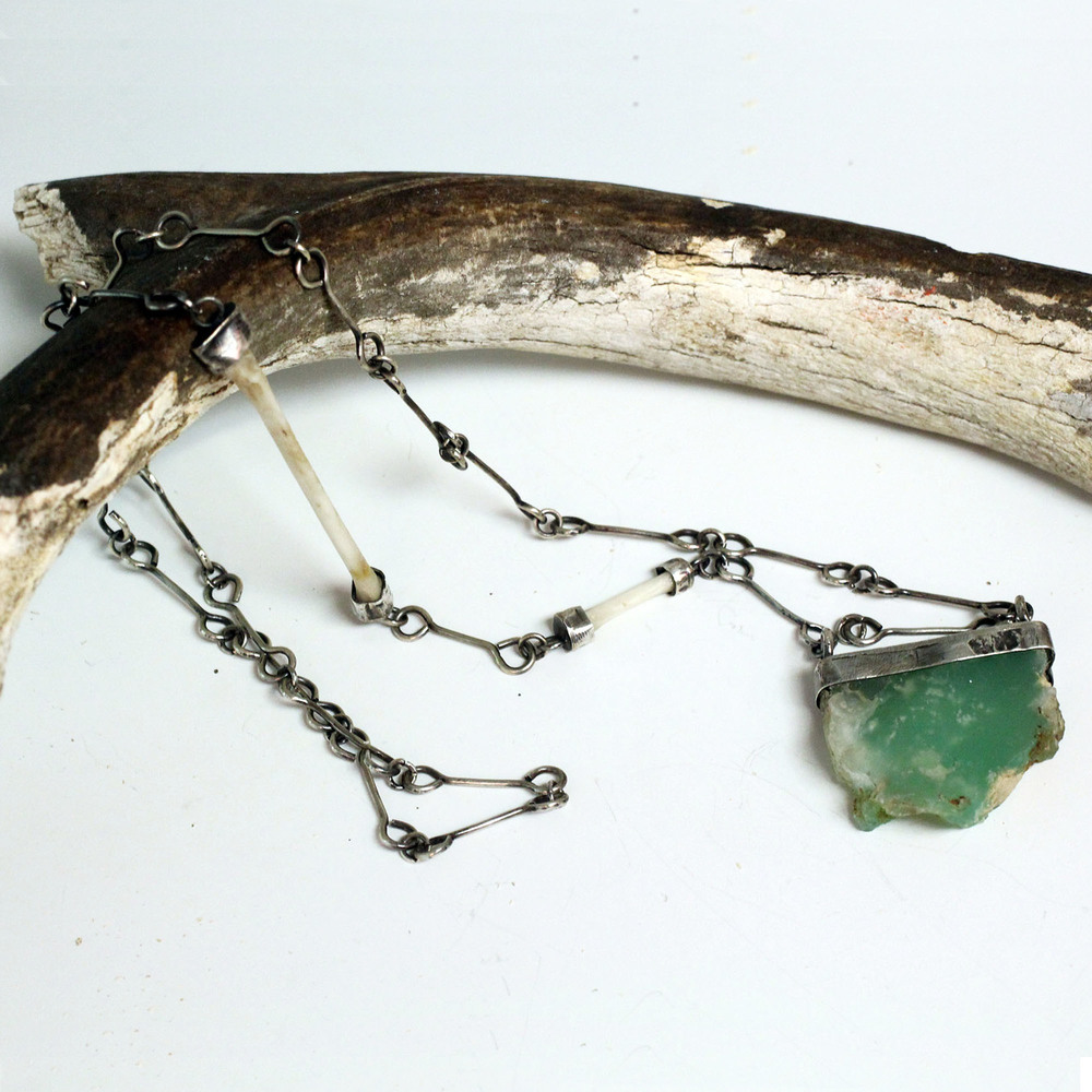 sterling silver handmade chain with bone  and chrysoprase pendant
