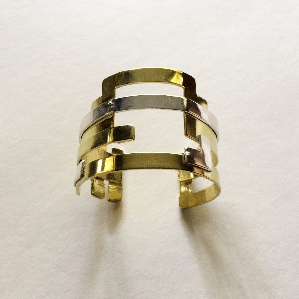 18k Gold and sterling silver cuff bracelet