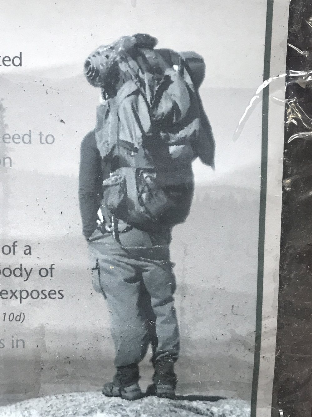 Look at this gearbomb of a hiker on a forest service poster!