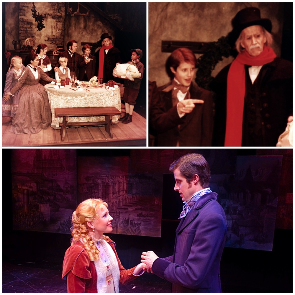 Top photos: John Ellington, Hal Landon Jr., and myself in the show in 1995. Bottom photo: Erika Schindele as Belle and myself as Young Eb in 2015.