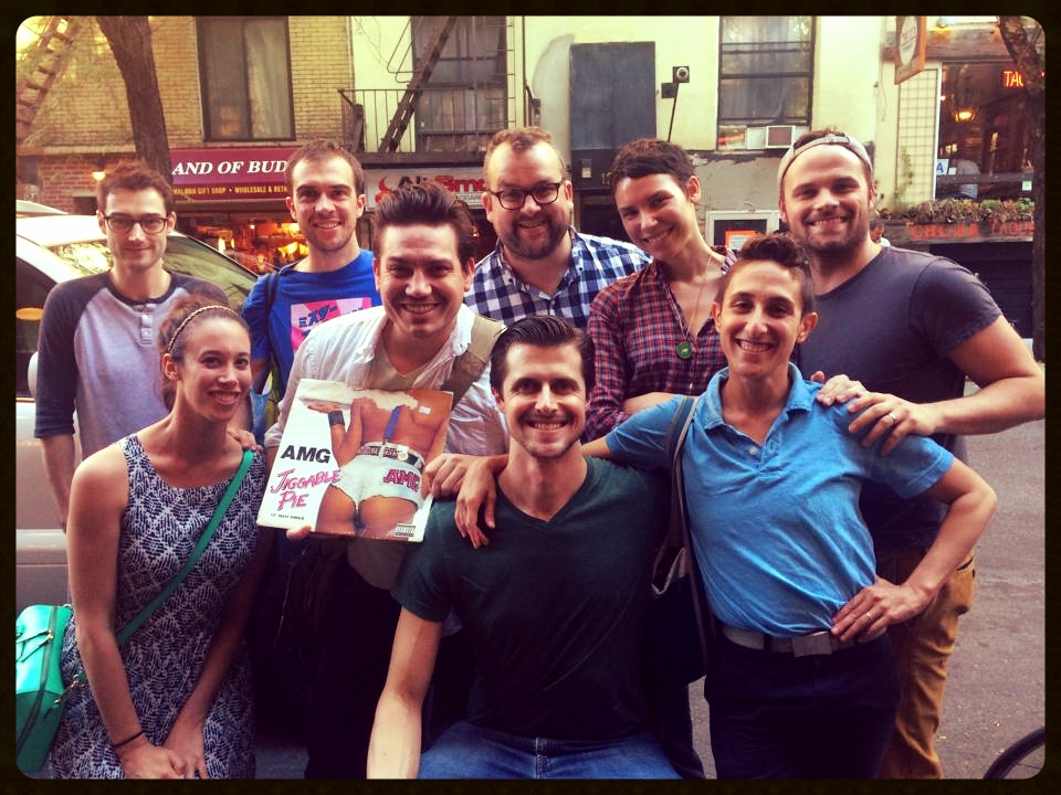 Alex Knox, Becca Wolff, and friends gather following the closing performance at the 2014 New York International Fringe Festival.