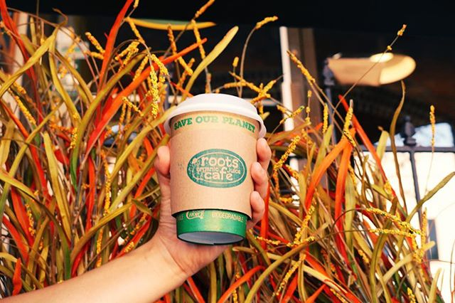 We are always looking for sustainable and eco-friendly practices to implement into the roots culture. One thing we happily invest in is compostable/biodegradable cups, straws, utensils, to go containers, etc.  A little goes a long way and we care about you, the Earth, and our community 💚