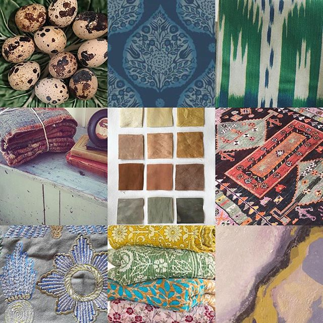 My Mood board of the week. A collection of @schumacher1889 @samantha.rvilla @oliphantdesign @joannaplantinteriors @kennedyroseinteriors @petrichorvintageco @galbraithandpaul #paisleywallpaper #indiantextiles #moroccanrugs #ikat #paris #india