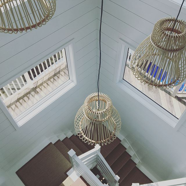Can you feel the sand and smell the salt air?!? Beach house stairwell- with before photos.  White paint, sisal, clean lines and cool lighting. Amen for simple pleasures.