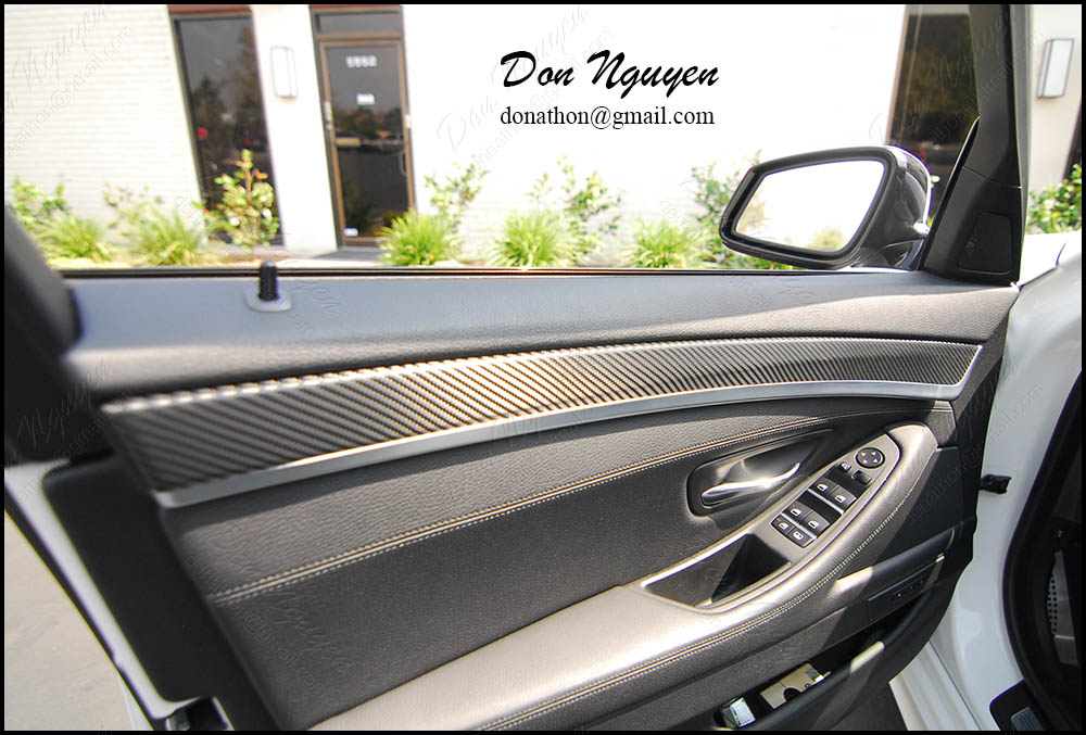 Bmw f10 535i gloss carbon fiber interior vinyl wrap wannaberacer wraps for Vinyl wrapping interior trim