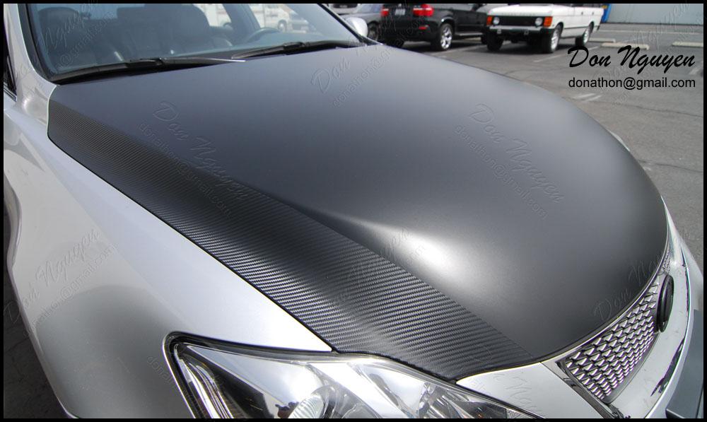Lexus Isf Matte Black And Carbon Fiber Hood Vinyl Wrap