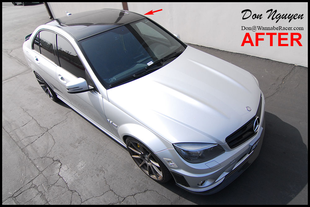 Mercedes Benz C63 Amg Sedan Gloss Black Vinyl Roof Car Wrap
