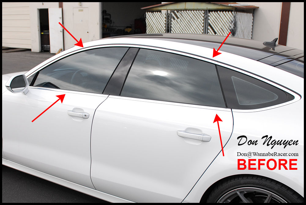 Audi a7 sedan gloss black window trim vinyl car wrap wannaberacer wraps for Vinyl wrapping interior trim