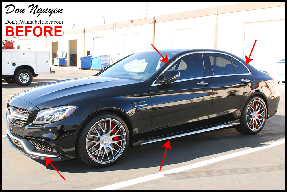 Mercedes benz c63s amg w205 gloss black window trim for Mercedes benz blue window tint