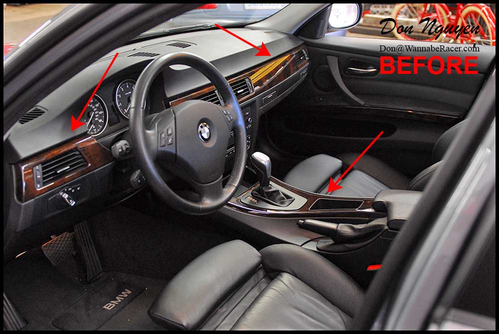 BMW 328i E90 Sedan   Gloss Carbon Fiber Vinyl Interior Car Wrap