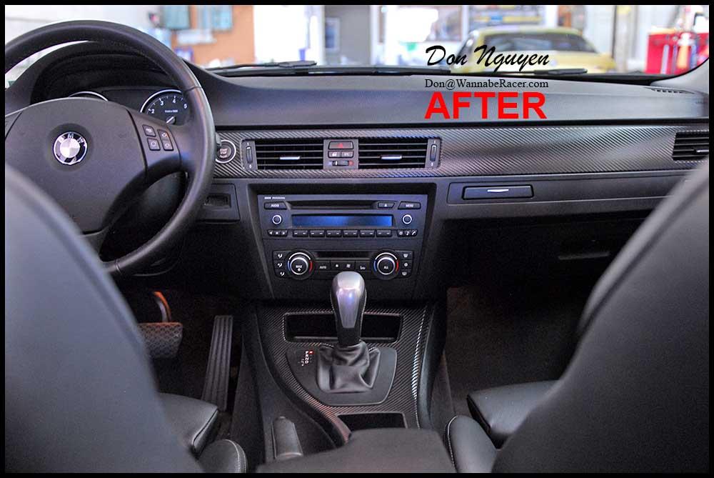 bmw 328i e90 sedan gloss carbon fiber vinyl interior car wrap wannaberacer wraps. Black Bedroom Furniture Sets. Home Design Ideas