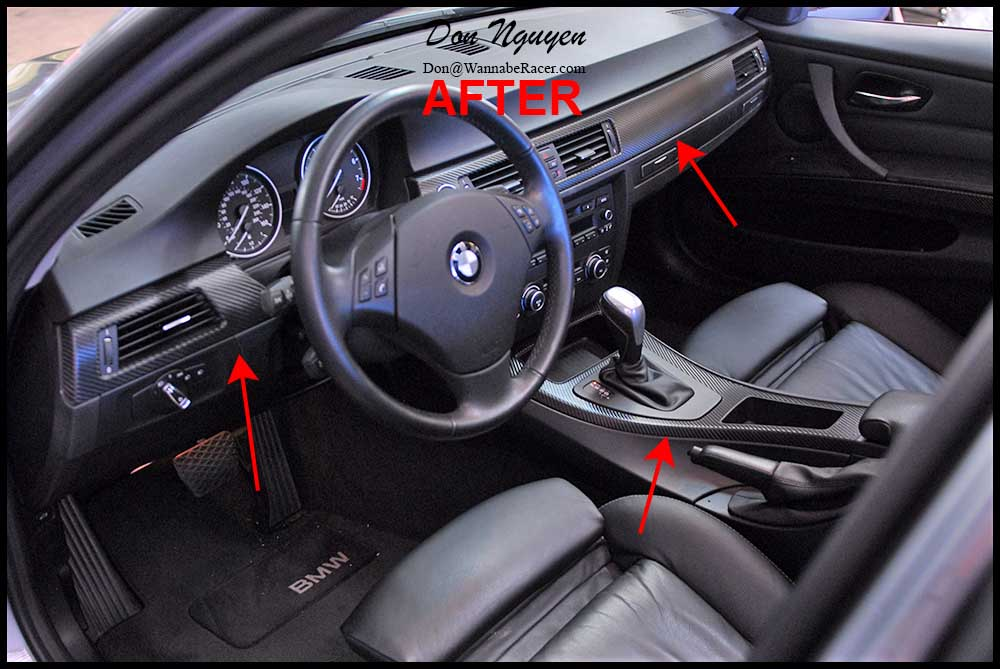 bmw 328i e90 sedan gloss carbon fiber vinyl interior car wrap wannabe racer car wraps. Black Bedroom Furniture Sets. Home Design Ideas