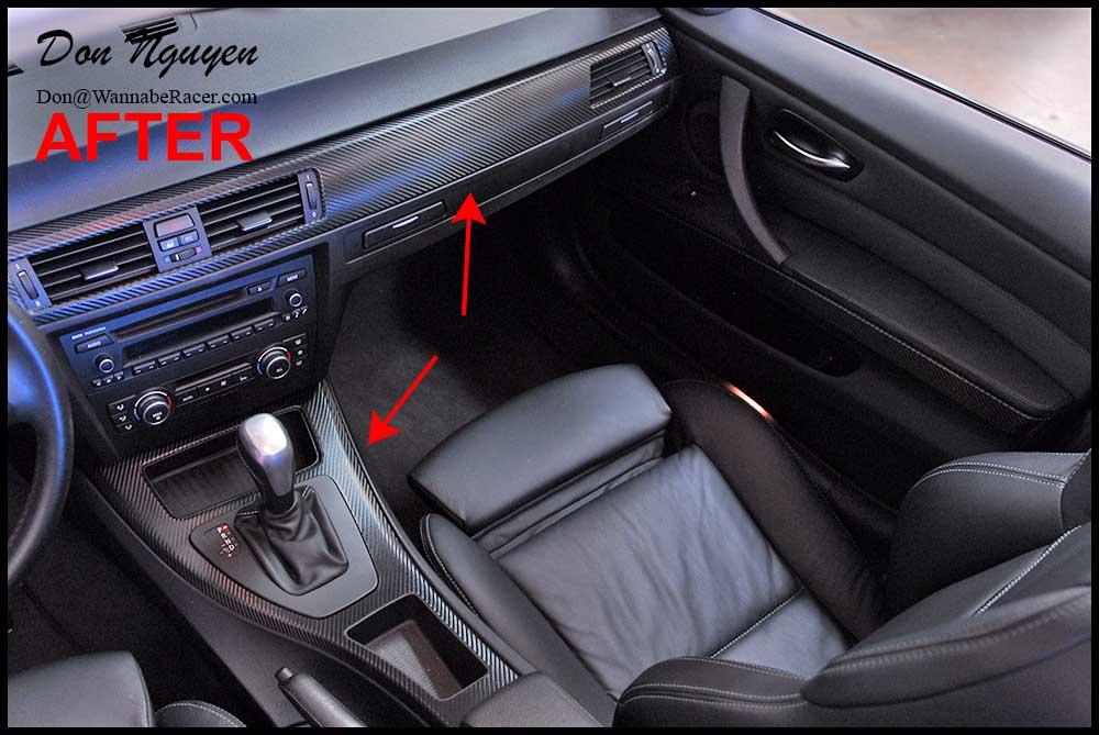 bmw 328i e90 sedan gloss carbon fiber vinyl interior car wrap wannabe racer car wraps. Black Bedroom Furniture Sets. Home Design Ideas