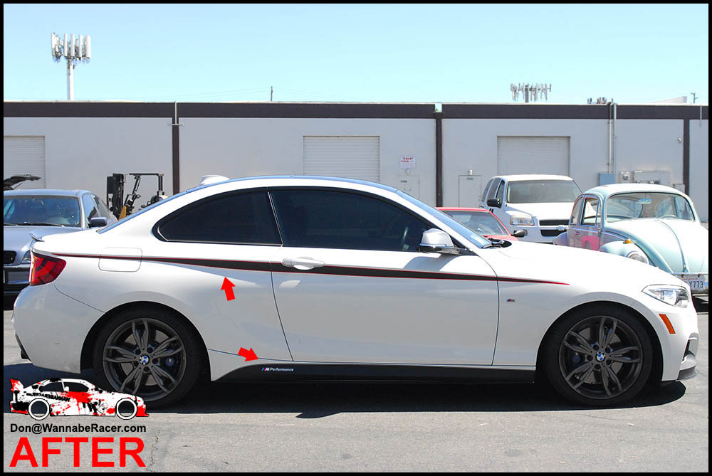 Bmw f22 m235i coupe gloss black vinyl roof m performance side accents car wrap