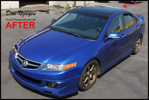 Acura TSX Sedan - Matte Black Roof Vinyl Car Wrap