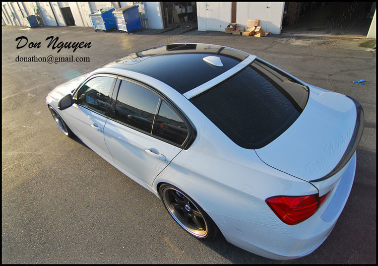 BMW F30 335i Sedan - Gloss Black Roof and Window Trim Vinyl Car Wrap
