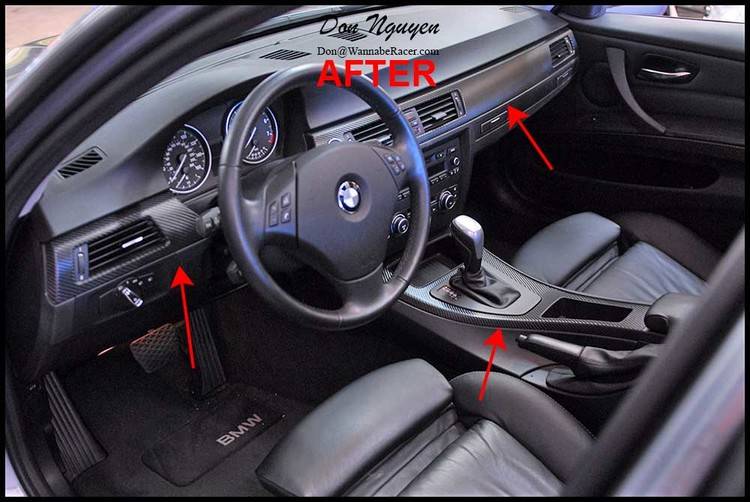 BMW 328i E90 Sedan - 3M 1080 Gloss Carbon Fiber Vinyl Interior Car Wrap