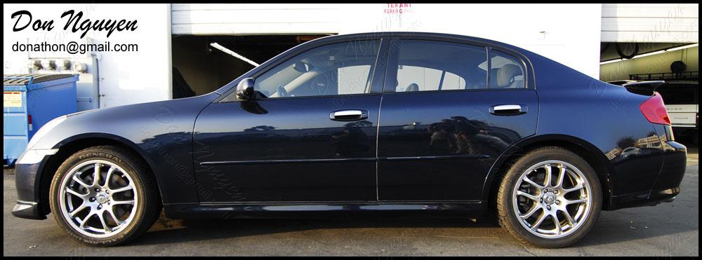 Infiniti G35 Sedan - Matte Black Window Trim Vinyl Car Wrap