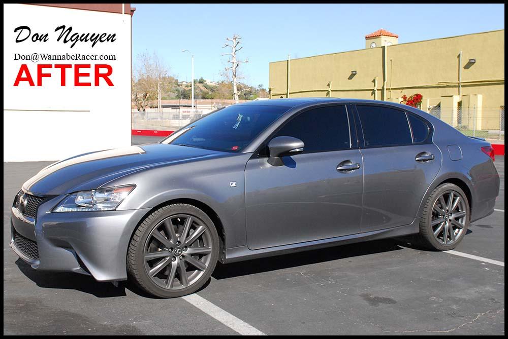 Lexus GS350 F Sport Sedan - Gloss Black Window Trim, Front Grill, and Rear Trunk Bar Vinyl Vehicle Wrap