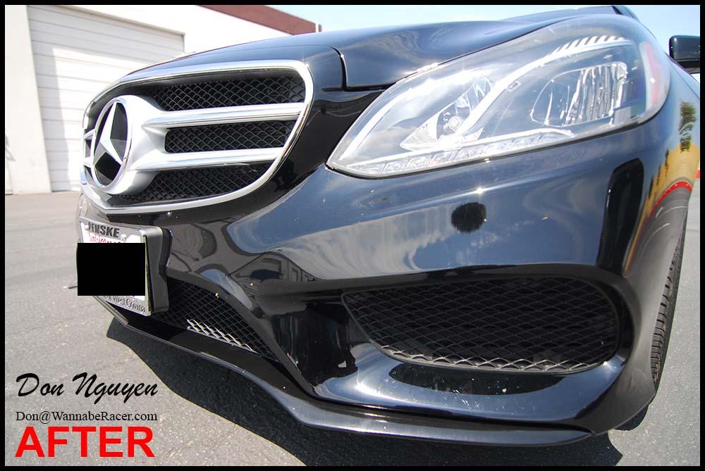Mercedes Benz E63 AMG Sedan - Gloss Black Window Trim and Bumper Vinyl Car Wrap