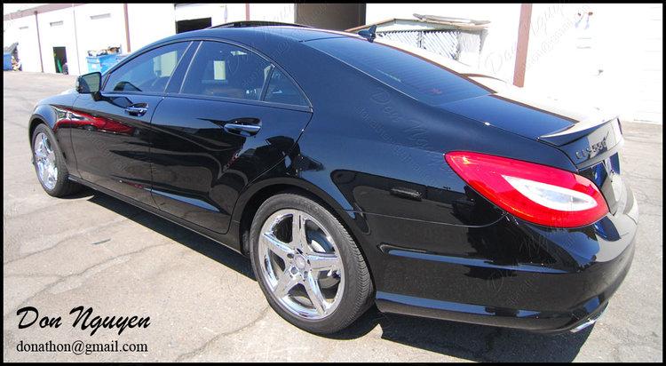 Mercedes Benz CLS550 Sedan - Matte Black Window Trim Vinyl Wrap