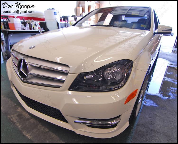 Mercedes Benz C250 Sedan - Tinted / Smoked Head Lights Vinyl Car Wrap