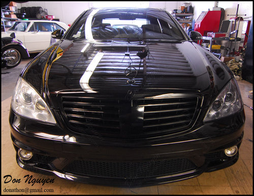 Mercedes Benz S63 AMG Sedan - Gloss Window Trim and Tinted Head Lights Vinyl Car Wrap