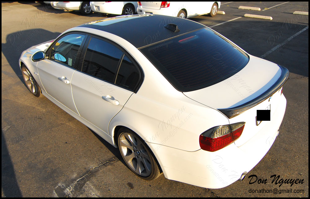 BMW 335i E90 Sedan - Matte Carbon Fiber Roof Vinyl Car Wrap