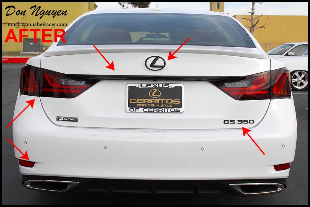 Lexus GS350 F Sport Sedan - Plasti Dip Rear Badges / Emblems