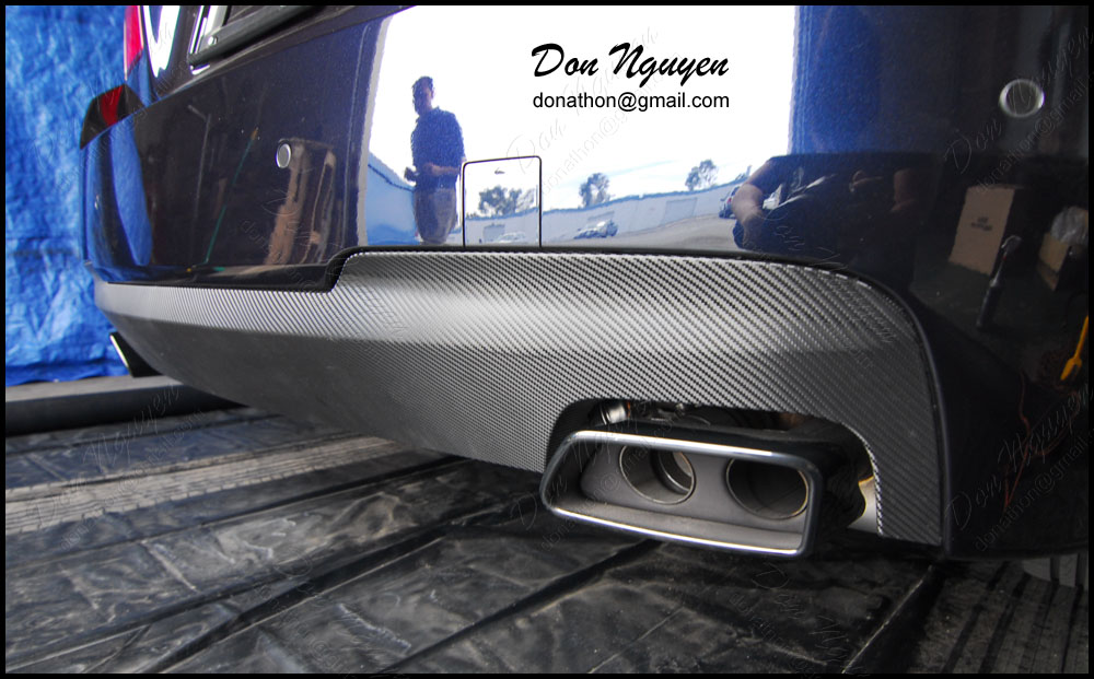 BMW 550i F10 Sedan - Gloss Carbon Fiber Rear Diffuser Bumper Vinyl Car Wrap