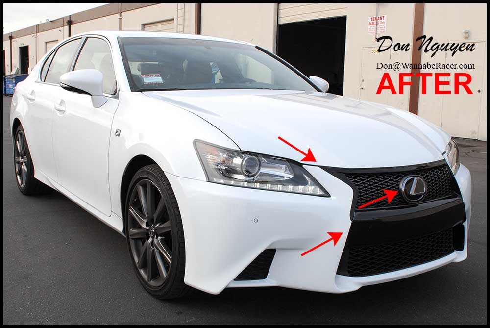 Lexus GS350 F Sport Sedan - Gloss Black Grill / Bumper Vinyl Car Wrap