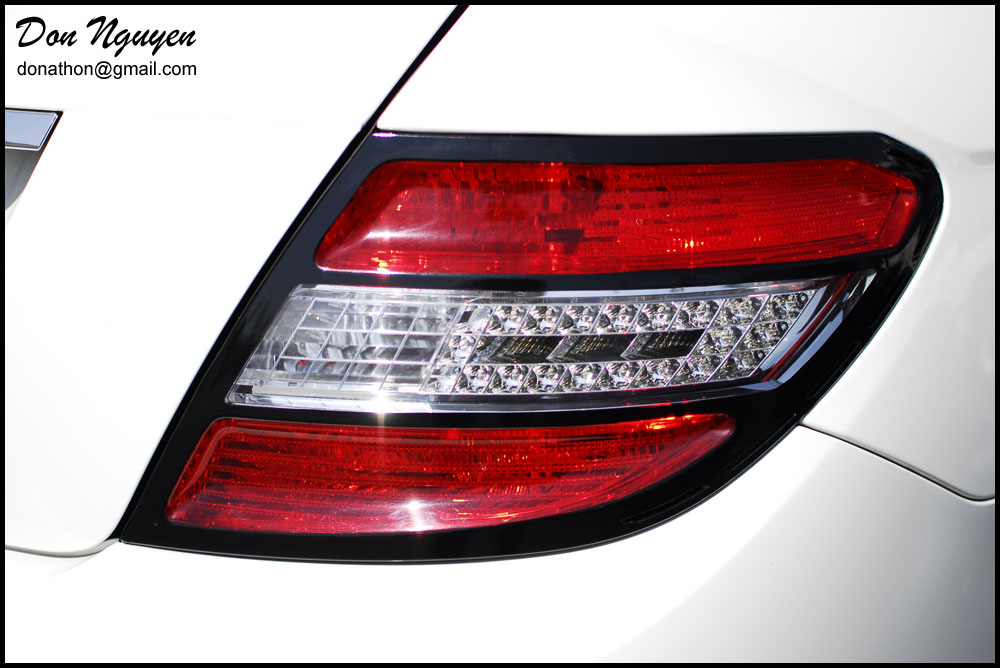 Mercedes Benz C350 Sedan - Brabus Style Black Tail Light Trim Vinyl Wrap
