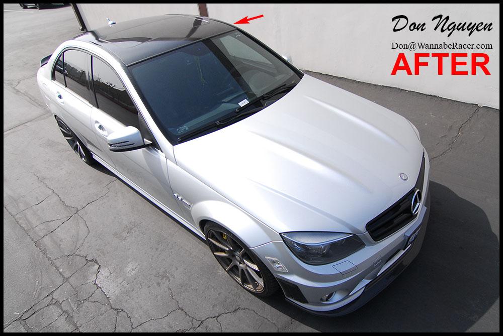 Mercedes Benz C63 AMG Sedan - Gloss Black Vinyl roof Car Wrap