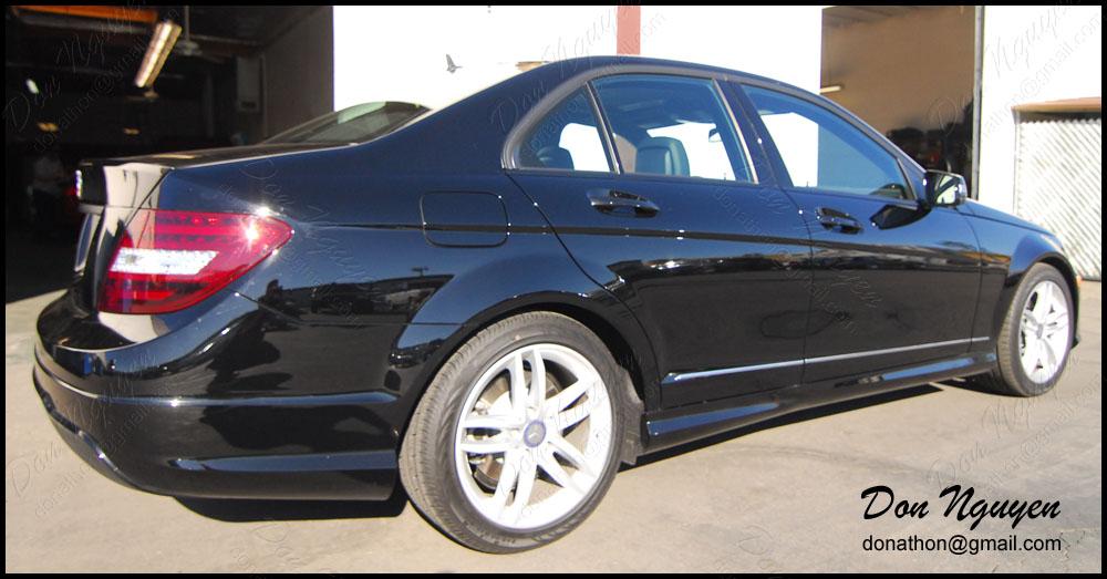 Mercedes Benz C300 Sedan - Matte Black Window Trim and Tinted Tail Lights Vinyl Car Wrap