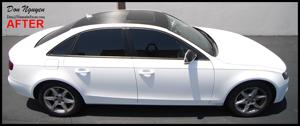 Audi A4 B8 Sedan - Gloss Carbon Fiber Vinyl Roof Car Wrap