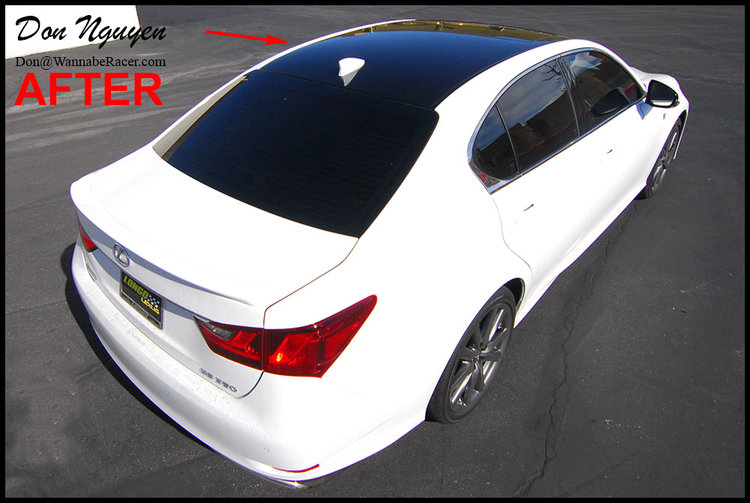 Lexus GS350 Sedan - Gloss Black Vinyl Roof Car Wrap